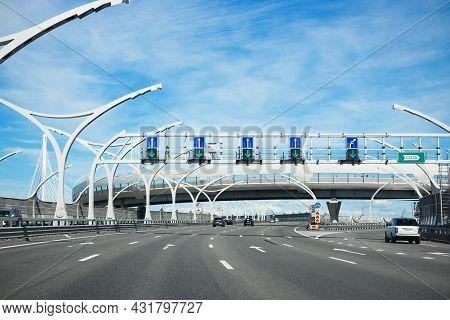 Highway Western Expressway Diameter Under Blue Sky And White Clouds - Saint Petersburg, Russia, June