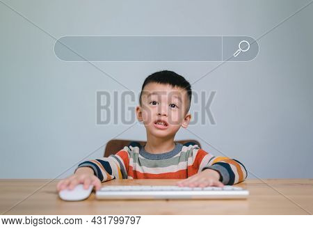Smart Kids, Data Search Technology Search Engine Optimization. Cute Boy Hands Are Using A Mouse And