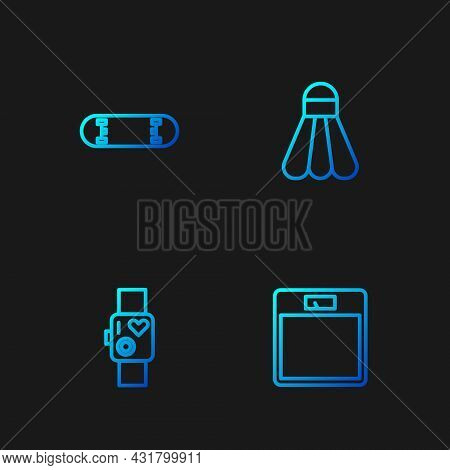 Set Line Bathroom Scales, Smart Watch Showing Heart Beat Rate, Skateboard Trick And Badminton Shuttl