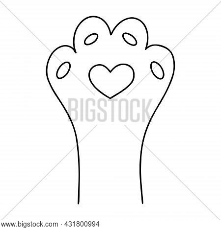 Cute Pet Paw Icon With Heart In Black Ink Outline. Simple Childish Isolated Vector Illustration Of C