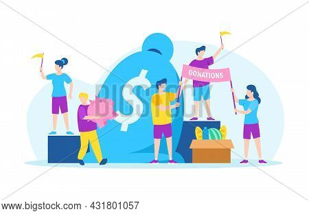 Donate Money With Charity, Volunteer Aid, Vector Illustration. Man Woman Character Giving Finan Ial