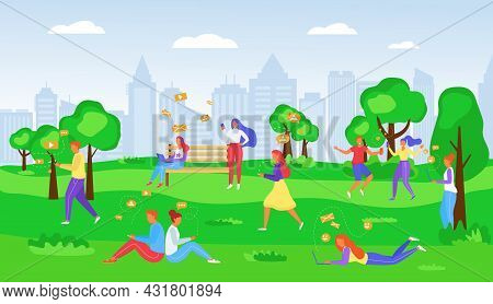 People Texting In Park, Mobile Phone With Internet, Vector Illustration. Man Woman Character Have So
