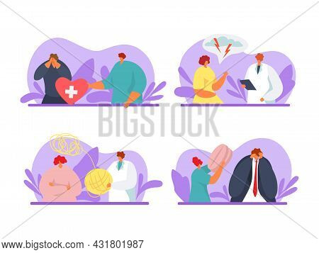 Psychological Help For People, Vector Illustration Set. Man Woman Character With Psychology Problem,