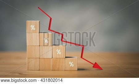 Arrow Down From The Elements Of Wooden Blocks With Percentage Sign, Concept Of The Global Financial