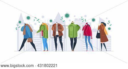 Cold Sickness Season, Vector Illustration. Ill Man Woman People Character At Street, Virus Disease B