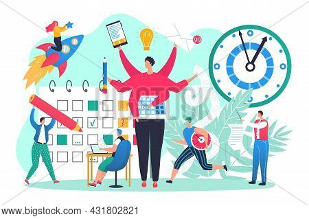 Business Office Work With Time Management, Vector Illustration. Man Woman People Character Use Multi
