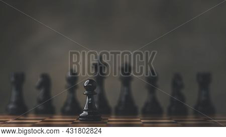 Close-up Of Chess Pieces Against Dark Background, International Chess, Ideas And Competition And Str