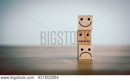 Wooden Cube Stacking With Icon Emotion Face, Evaluation, Increase Rating, Best Excellent Services, B