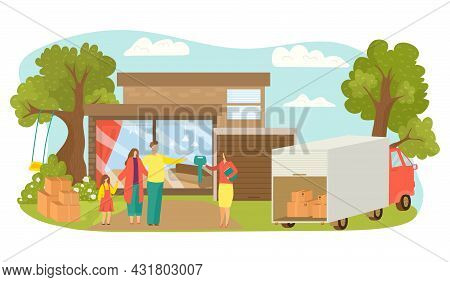 Realtor Sell House, Family Buy Apartment, Vector Illustration. Woman Agent Give Key Flat Mother, Fat
