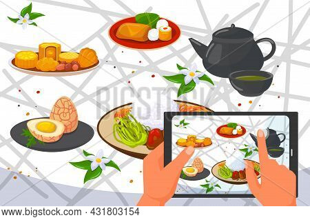 Asian Chinese Traditional Food Photo At Smartphone, Vector Illustration. Bowl With Japanese Cuisine,