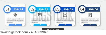 Set Line Target Sport, Postal Stamp, Play Video And Picture Landscape. Business Infographic Template