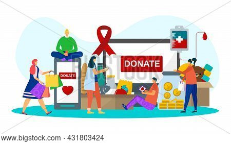 Donation For Care, Vector Illustration. Man Woman Volunteer Character Donate Food, Toys, Money And B