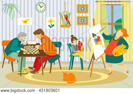 Family At Home, Vector Illustration. Happy Mother Woman Character Draw Daughter Kid Portrait, Father