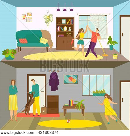 Family Rest At Home Set, Vector Illustration. Man Woman Character Clean Up Room Together, Dance Whil