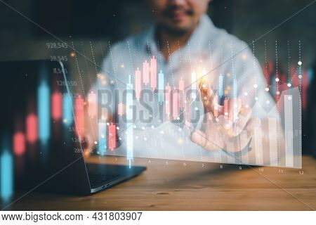 Business Finance Technology And Investment Concept. Stock Market Investments Funds And Digital Asset