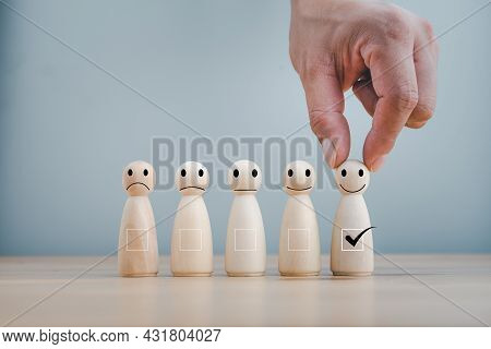 Best Excellent Business Services Rating Customer Experience. Satisfaction Survey Concept. Hand Of A