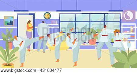 Judo Class, Vector Illustration. Man Woman People Character At Taekwondo Training, Sport With Martia
