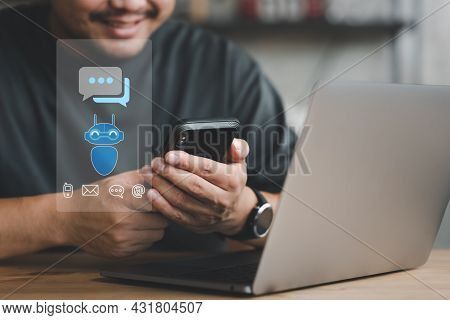 Businessman Using Mobile Phone Chatbot For Provide Access To Information And Data Online Network, Ro