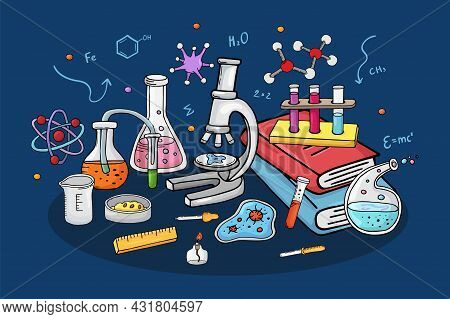Laboratory Concept, Vector Illustration. Chemistry Research At Lab, Equipment For Science Experiment