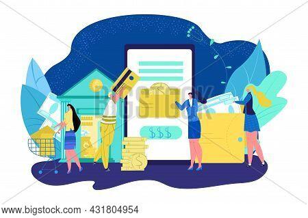 Digital Transaction By Mobile Banking, Vector Illustration. Online Money Transfer, Internet Payment