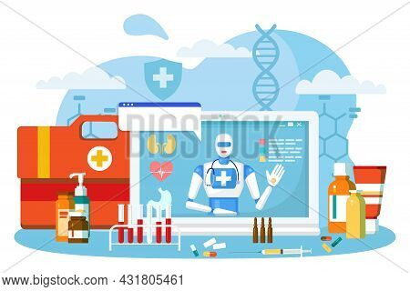 Online Robot Doctor, Vector Illustration. Medical Care By Hospital Service, Artificial Mind Technolo