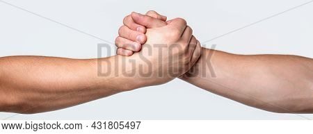 Two Hands, Helping Arm Of A Friend, Teamwork. Helping Hand Outstretched, Isolated Arm, Salvation. Fr