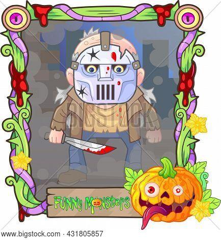 Cartoon Scary Monster Maniac, Funny Illustration Design
