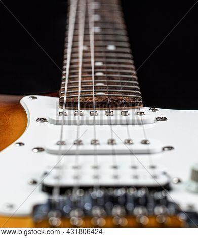 Musical Instrument For Rock, Blues, Metal Songs. Guitar Strings, Close Up. Electric Bass Guitars. El