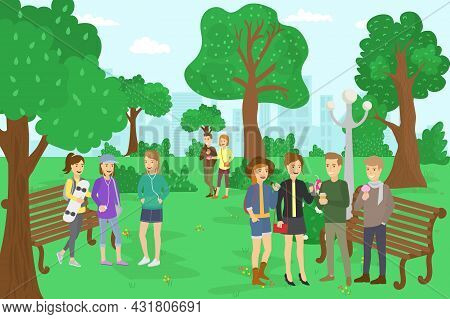 Park With Teenagers, Vector Illustration. Flat Girl Guy Character Rest Outdoor At City Nature, Happy