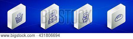 Set Isometric Line Sauna Bucket, Mausoleum Of Lenin, Joseph Stalin And Bread Loaf Icon. Vector