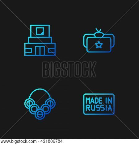 Set Line Made In Russia, Russian Bagels, Mausoleum Of Lenin And Ushanka. Gradient Color Icons. Vecto
