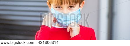 Health Care. Face Mask For Protection Coronavirus Outbreak. Child Wearing A Medicine Mask Outdoors.
