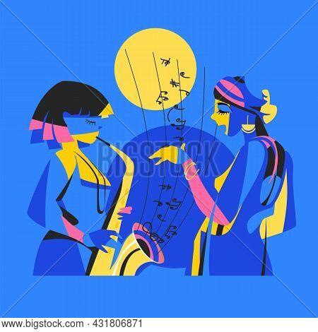 Jazz. Abstract Image Of People Singing Jazz. The Jazz Group. Female Vocals. Saxophone