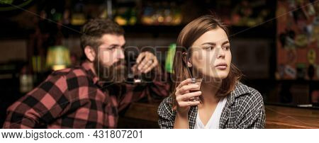 Young Woman Has Problems With Alcohol. Alcoholism, Alcohol Addiction, Male Alcoholic. Young Man Drin