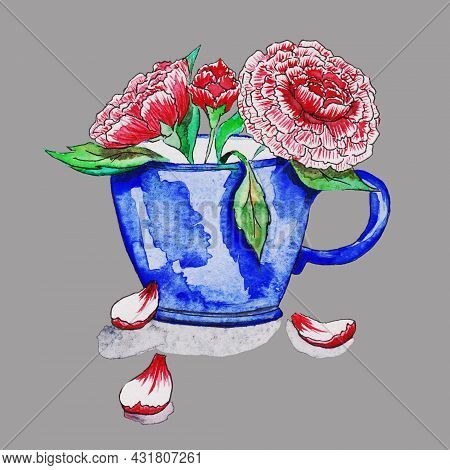 A Blue Mug,a Glass, A Cup With A Saucer For Tea, With Spring, Red Flowers Inside With Green Stems An