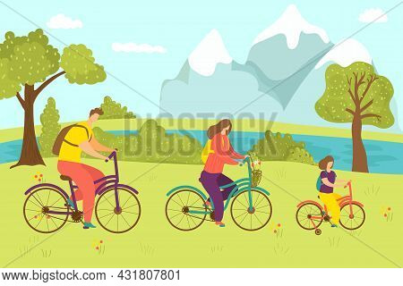 Family Activity With Bicycle, Vector Illustration. Man Woman Kid Character Ride Bike, Sport Lifestyl