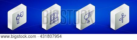 Set Isometric Line Museum Guide, Online Museum, Security Camera And Road Traffic Signpost Icon. Vect