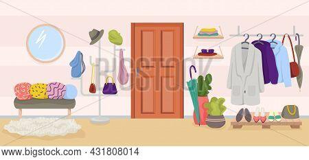 Hallway Home Interior, Vector Illustration. Apartment Furniture In Hall Design, Flat House Entrance