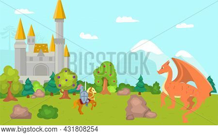 Knight Fight With Dragon, Vector Illustration. Man Warrior Character In Armor Hold Sword, Medieval B