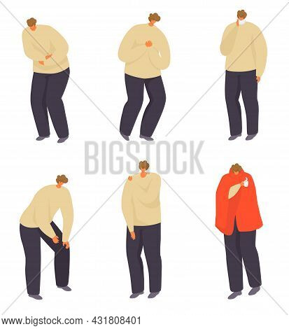 Sick Man With Pain Set, Vector Illustration. Male Character With Disease, Bad Health With Illness, I