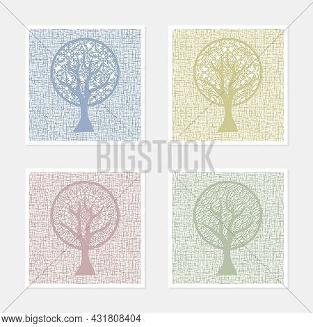 Set Of Four Square Abstract Paintings. Theme Of The Changing Seasons. Stylized Trees Of Calm Pastel