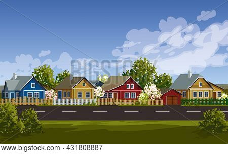 Russian Village Spring Landscape. Russian Village Houses In Traditional Style. Wooden Houses Near Ro