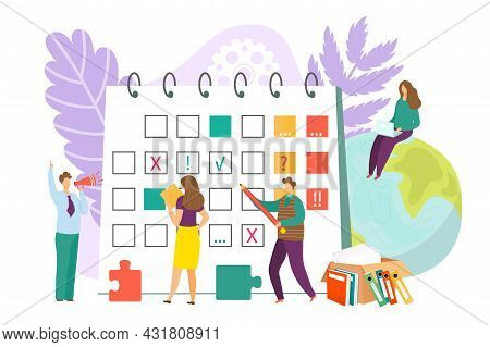 Schedule Calendar For Business Concept, Vector Illustration. Flat People Character Plan Time, Agenda