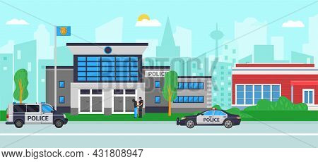 Police Station At City Street, Vector Illustration. Flat Building With Security, Law Department With
