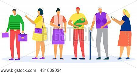 Queue, People In Line, Vector Illustration. Man Woman Character Stand Patiently, Isolated On White G