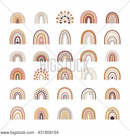 Set Of Boho Rainbows In Terracotta Colors. Neutral Nursery Art Design For Decoration, Bohemian Print
