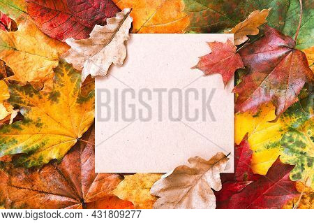 Craft Aaper Blank Frame And Autumn Leaves Background. Autumn Mockup. Autumn Composition, Fall Concep