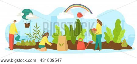 Garden With Plant, Vector Illustration. Tiny Flat People Character Work With Green Agriculture Natur