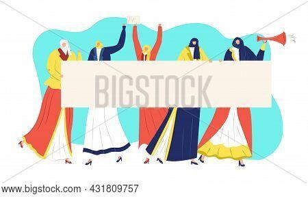 Protest Concept, Vector Illustration. Flat Muslim Woman Activist Hold Banner At Demonstration, Femin