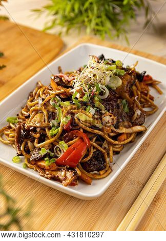 Delicious Noodles Stir Fry With Ear Wood Mushrooms And Vegetables